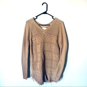 O'Neill long sleeve Fringe Boho Sweater Tan Size M